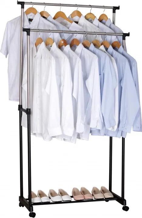 Suport mobil dublu pentru haine din metal, 86 x 39 x 95-165 cm