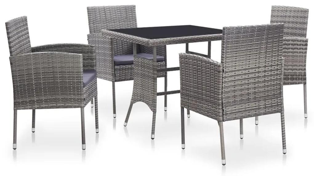 46399 vidaXL Set mobilier de exterior cu perne, 5 piese, gri, poliratan