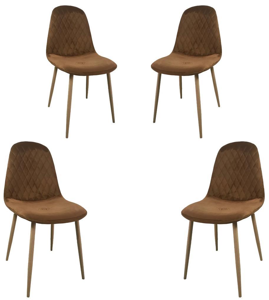 Set 4 scaune dining MF Abby, stil scandinav, catifea, picioare metalice, brun