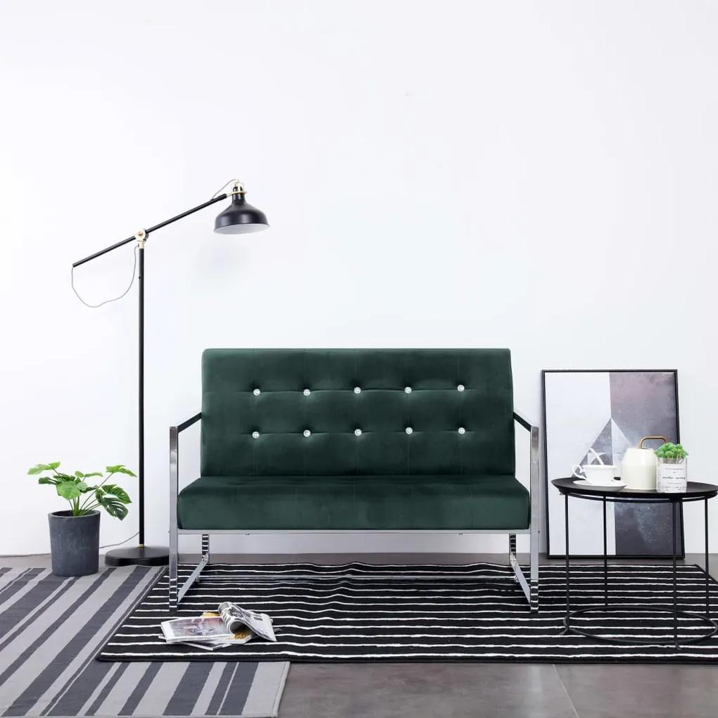 282164 vidaXL Canapea cu 2 locuri cu brațe, verde închis, crom și catifea