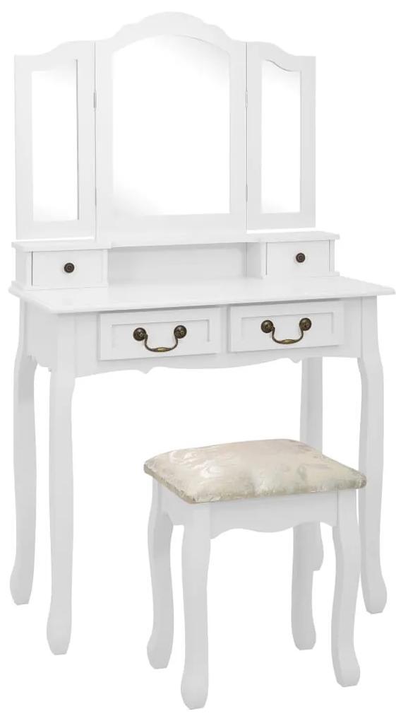 289318 vidaXL Set masă de toaletă cu taburet alb 80x69x141 cm lemn paulownia