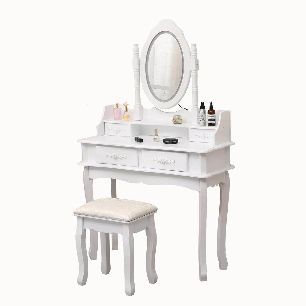 Set Maia, Masă de toaletă cu oglindă iluminată bandă LED, control touch, 4 sertare, scaun, Alb