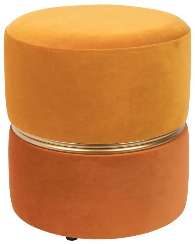 Puf catifea portocalie Ø35 cm Stool Bubbly Sun