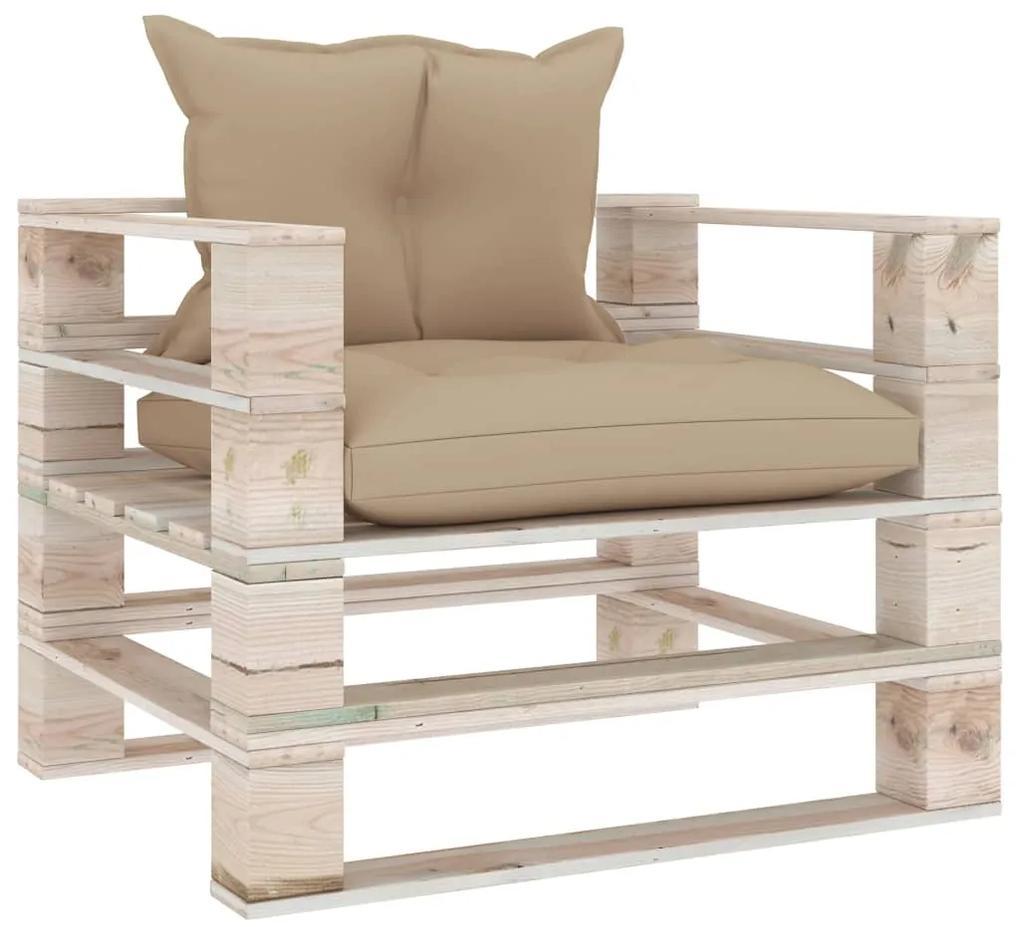 3066042 vidaXL Canapea de grădină din paleți, cu perne bej, lemn de pin