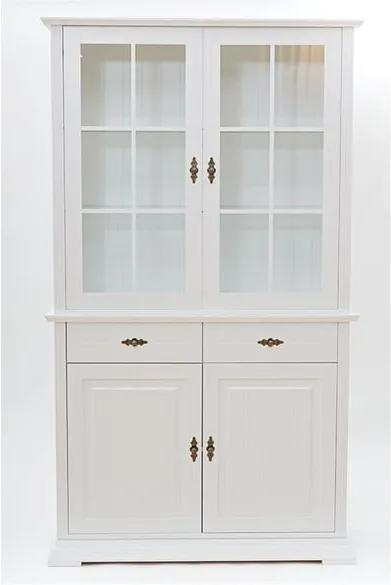 Vitrină cu 2 uși și 2 sertare WE47 Family Mari, alb
