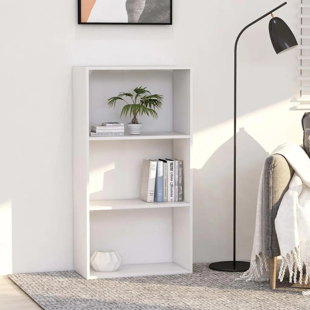 800972 vidaXL Bibliotecă cu 3 rafturi, alb, 60 x 30 x 114 cm, PAL