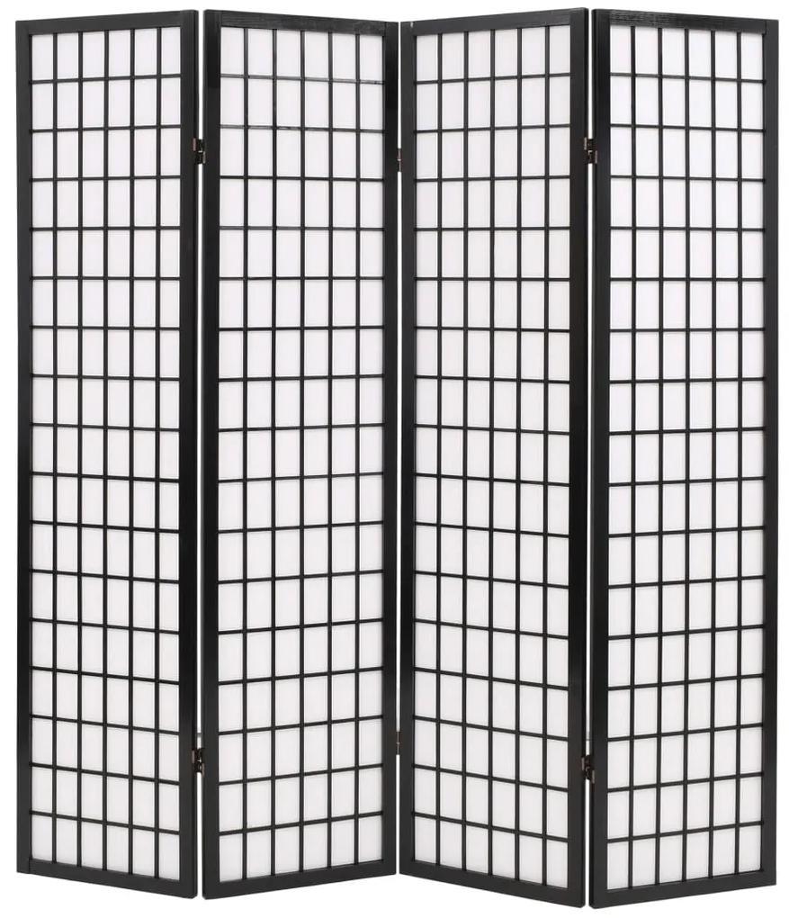 245898 vidaXL Paravan pliabil cu 4 panouri, stil japonez, 160x170 cm, Negru
