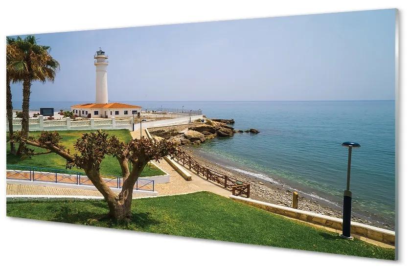 Tablouri pe sticlă Spania Coast far
