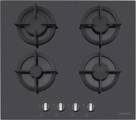 Plita gaz incorporabila Dominox DHG 604 BK F, 4 arzatoare, aprindere electronica la buton, valva de siguranta, 59x52 cm, sticla neagra