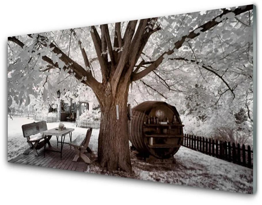 Tablou pe sticla acrilica Copac Natura Brown