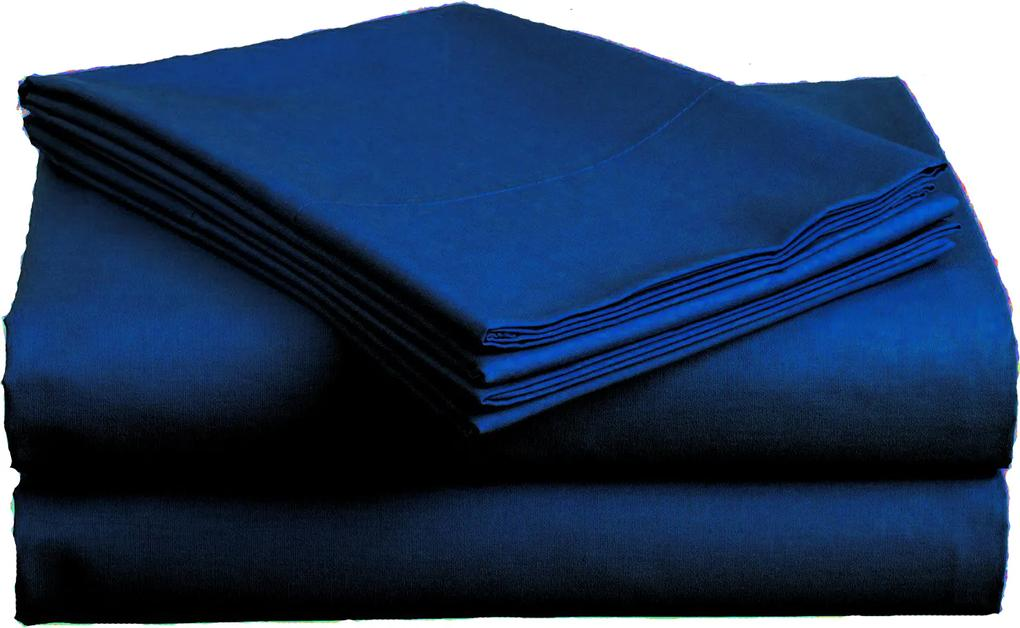 Cearșaf bumbac, standard, albastru închis 140x240-cm