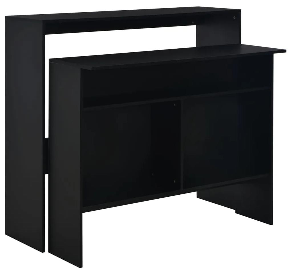 280218 vidaXL Masă de bar cu 2 blaturi, negru, 130x40x120 cm