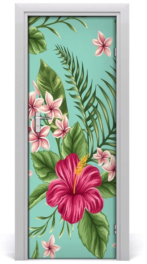 Autocolante pentru usi flori Hawaii