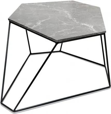 Masa gri din marmura si metal 58x75 cm pentru cafea Bunker51