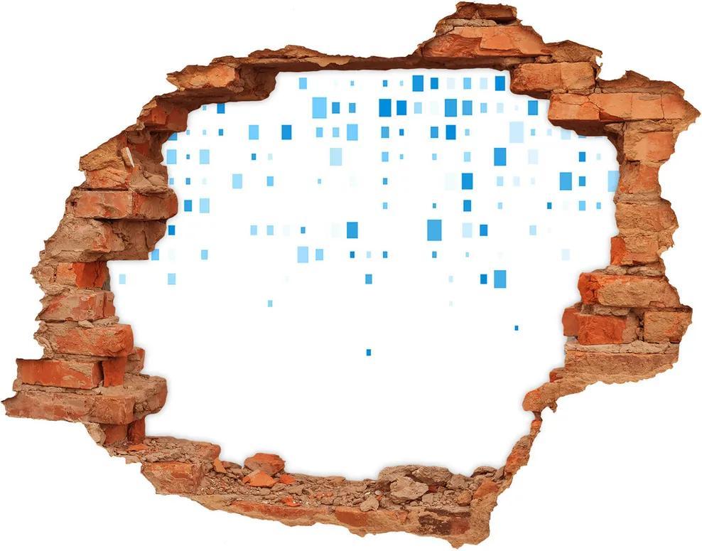 Fototapet un zid spart cu priveliște Pătrate albastre