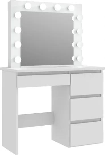 Masă de toaletă cu oglindă LED Cleopatra White