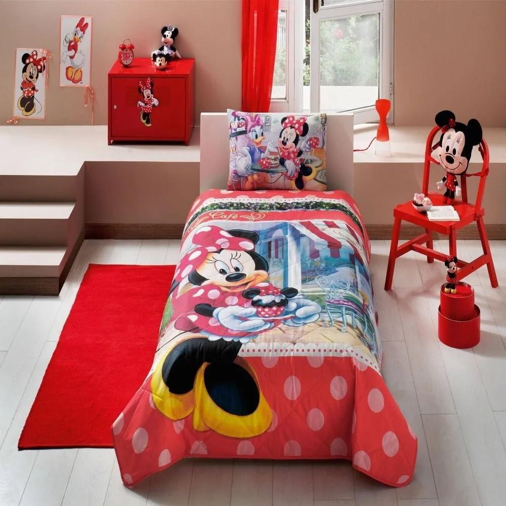 Set cuvertură și față de pernă pentru pat copii Minnie Tea Time, 160 x 220 cm