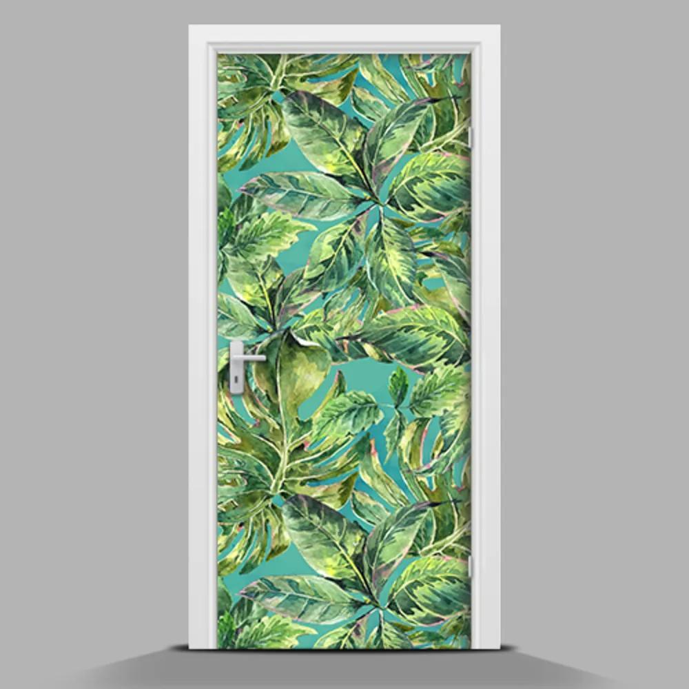 Tapet autocolant pentru uși Frunze pe un fundal albastru
