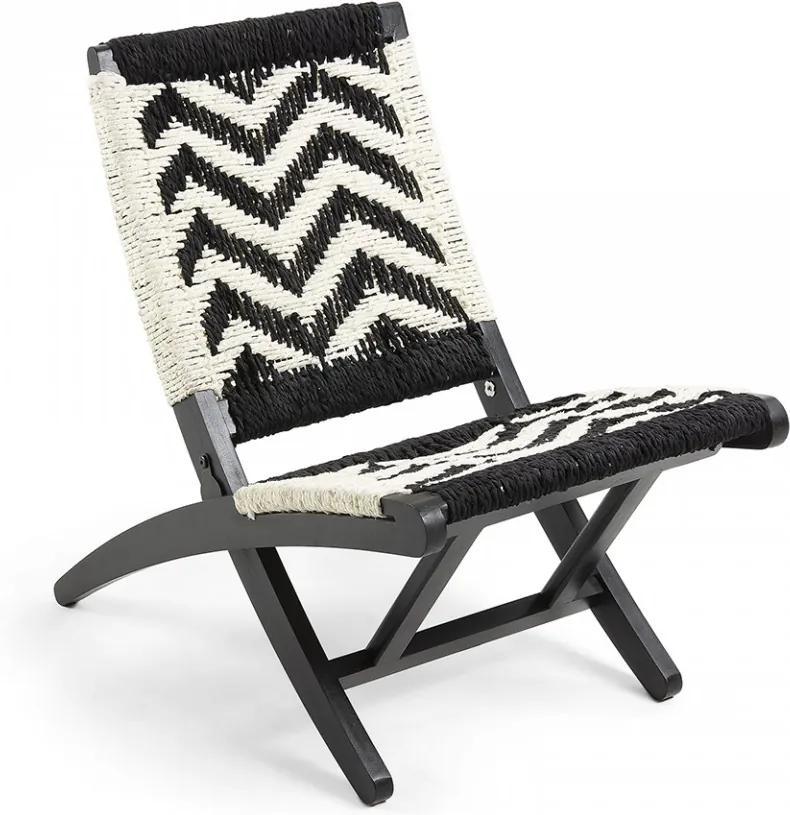 Scaun lounge pliabil din lemn negru si sfoara Heane La Forma