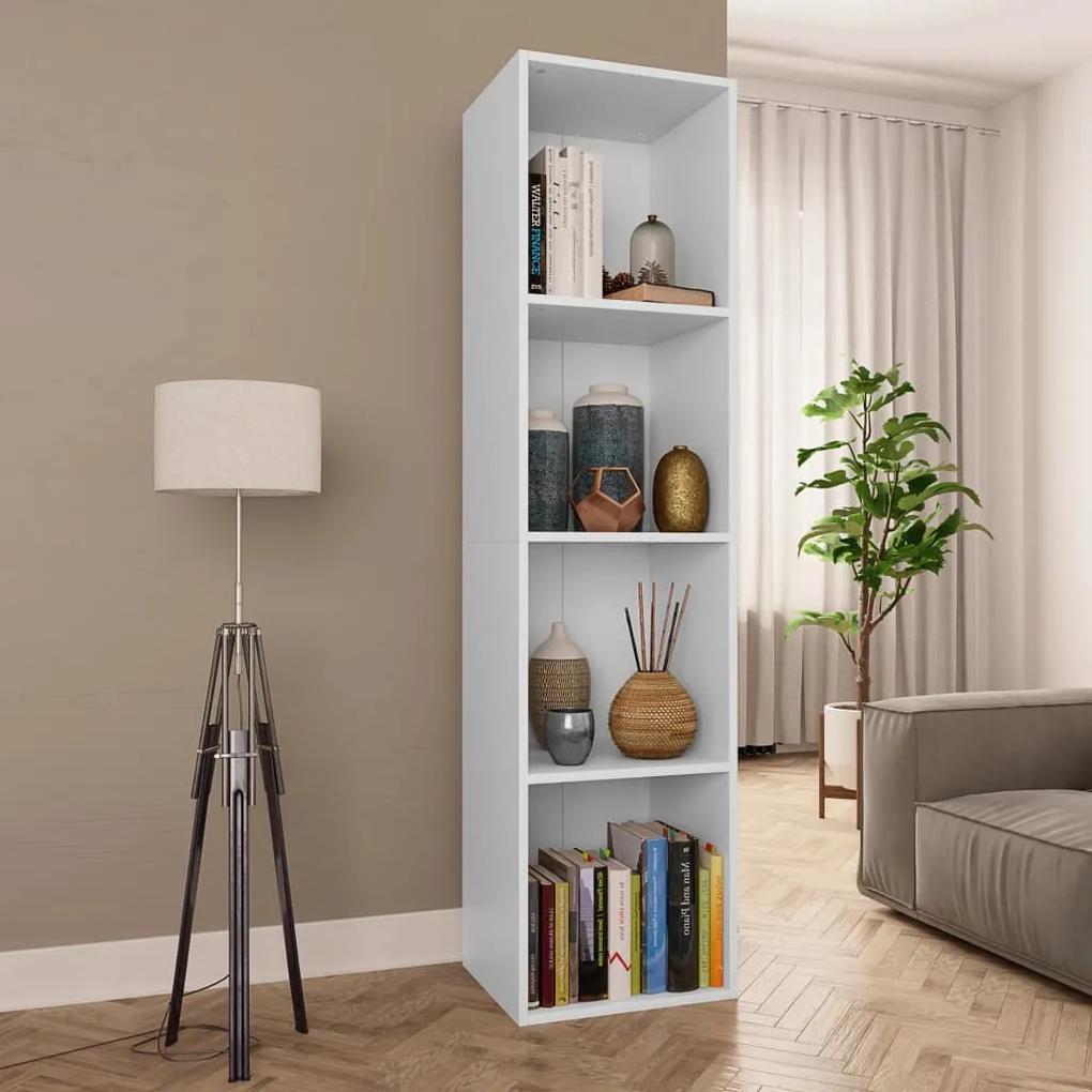 800144 vidaXL Bibliotecă/Comodă TV, alb, 36 x 30 x 143 cm, PAL