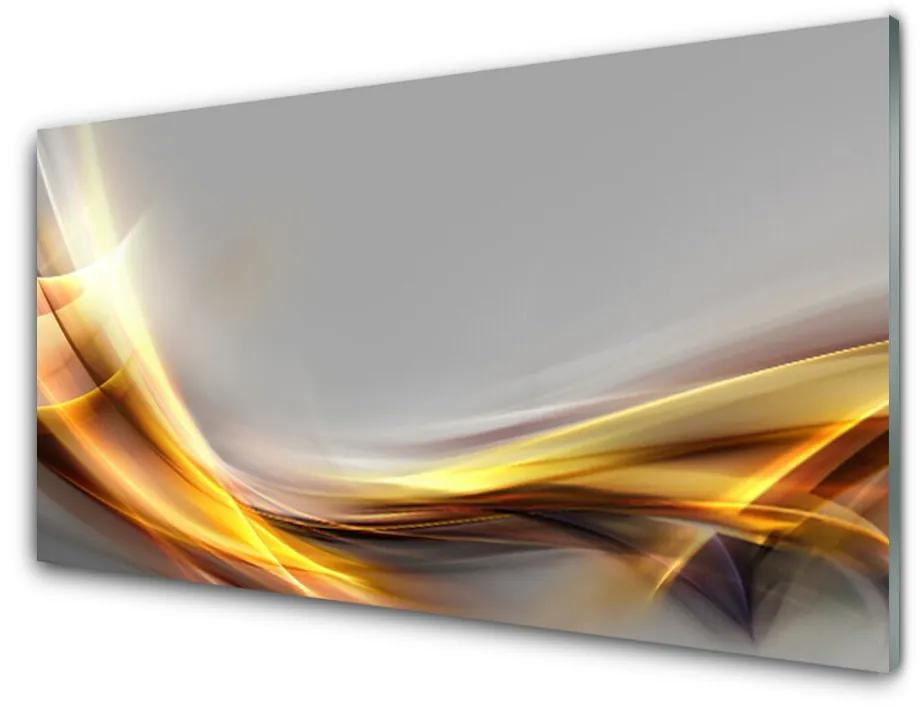 Tablou pe sticla acrilica Abstract Art Galben Gri