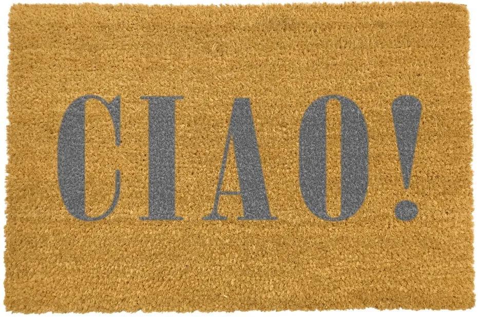 Covoraș intrare din fibre de cocos Artsy Doormats Ciao Grey, 40 x 60 cm