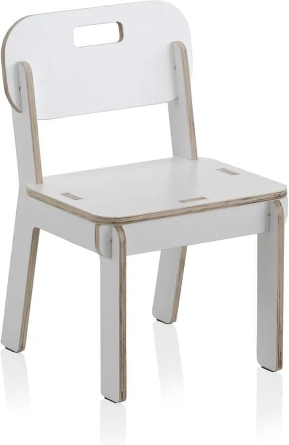 Scaun cu spătar din placaj pentru copii Geese Piper, alb