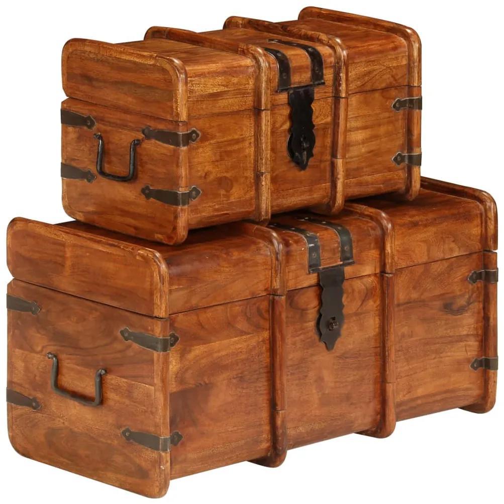 245656 vidaXL Set cufere, 2 buc., lemn masiv de salcâm, finisaj sheesham
