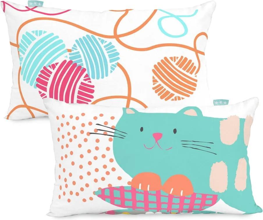 Față de pernă din bumbac cu 2 fețe Moshi Moshi Cat&Mouse, 50 x 30 cm