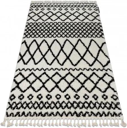 Covor Berber Safi N9040 albsi negru Franjuri shaggy pletos 60x200