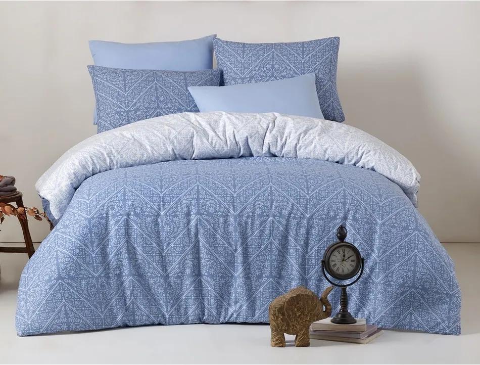 Lenjerie de pat Vira Blue, din bumbac, 220 x 200 cm, 2 buc. 70 x 90 cm, 220 x 200 cm, 2 buc. 70 x 90 cm