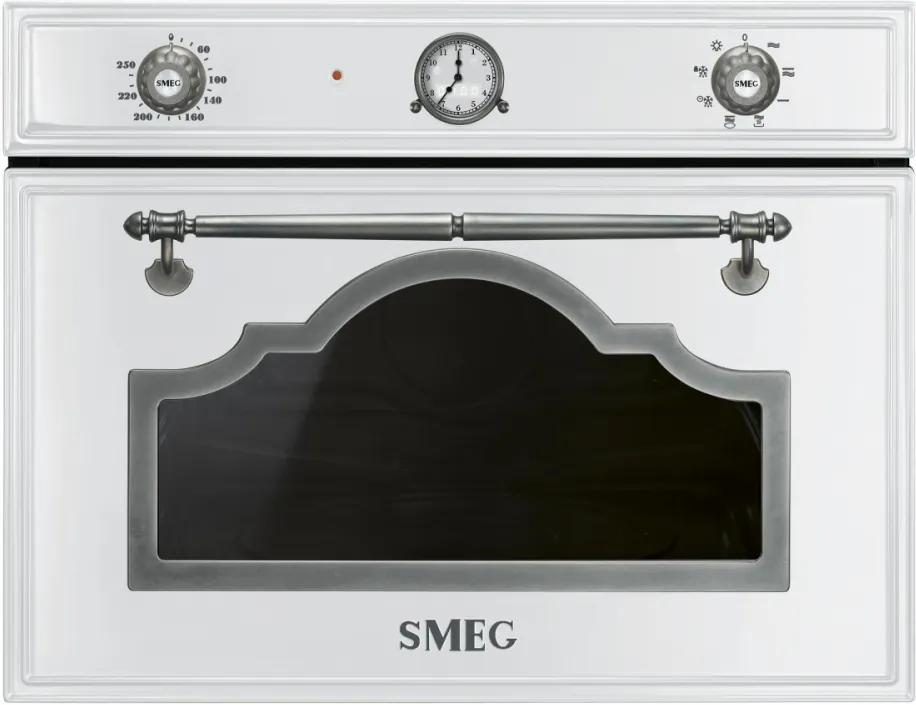 Cuptor incorporabil compact cu microunde si grill Smeg Cortina SF4750MBS, alb cu estetica argintie