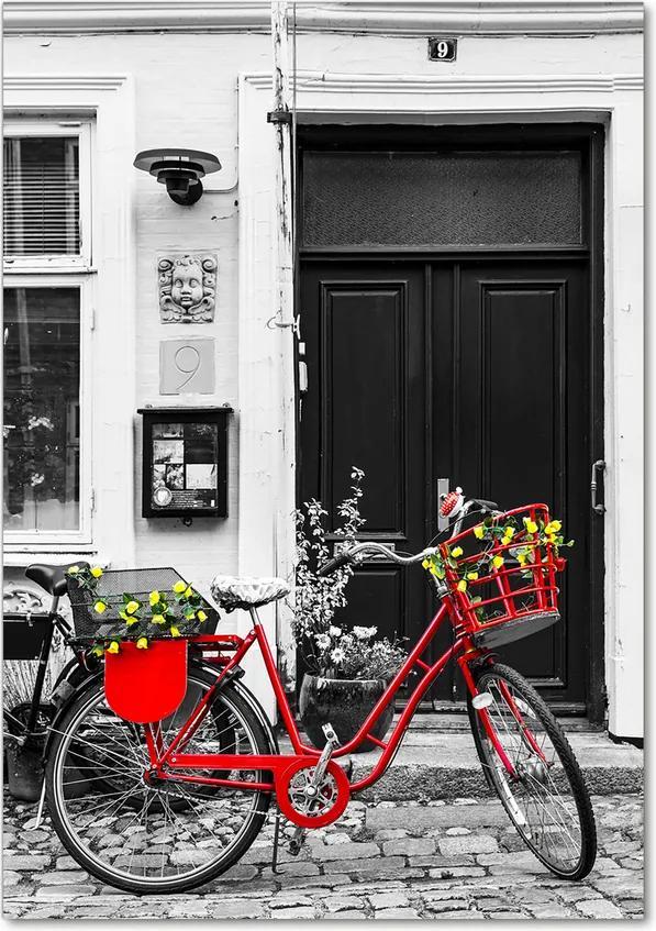 Tablou pe sticlă acrilică Oraș biciclete