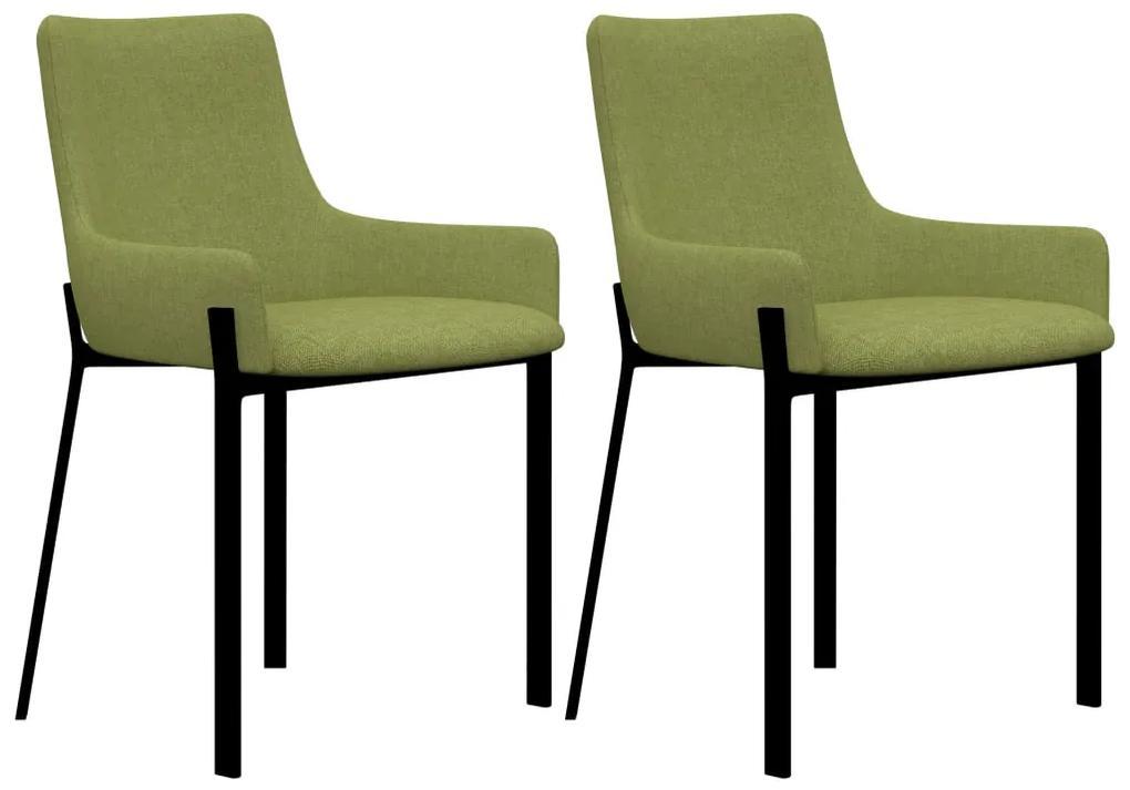 282594 vidaXL Scaune de bucătărie, 2 buc., verde, material textil