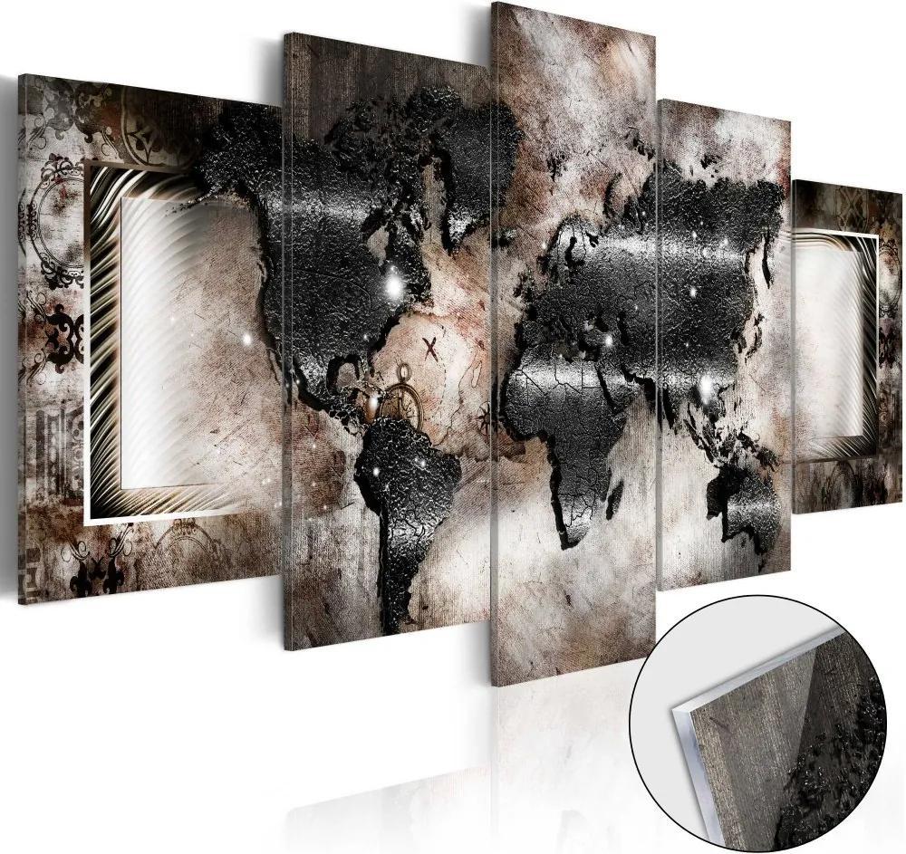 Bimago Imagine pe sticlă acrilică - Graphite Map 100x50 cm