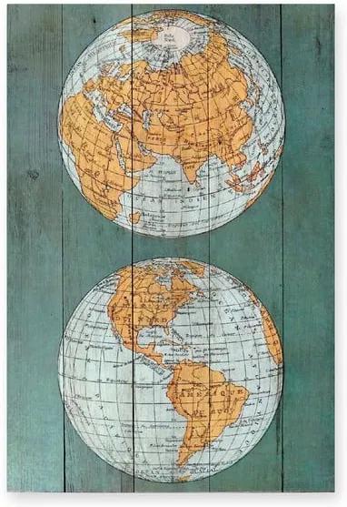 Pictură pe lemn Surdic Tabla The World, 40 x 60 cm