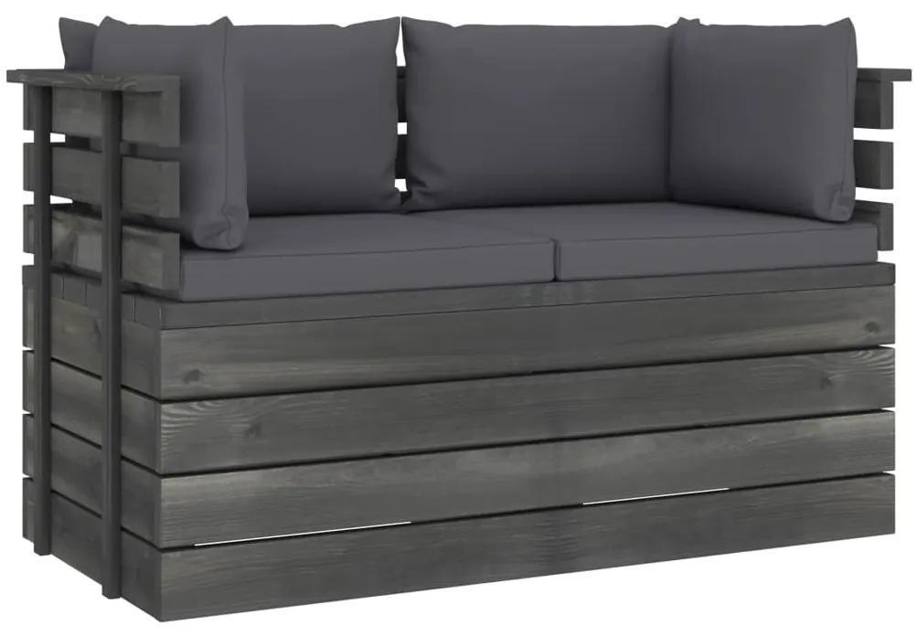3061731 vidaXL Canapea grădină din paleți, 2 locuri, cu perne, lemn masiv pin