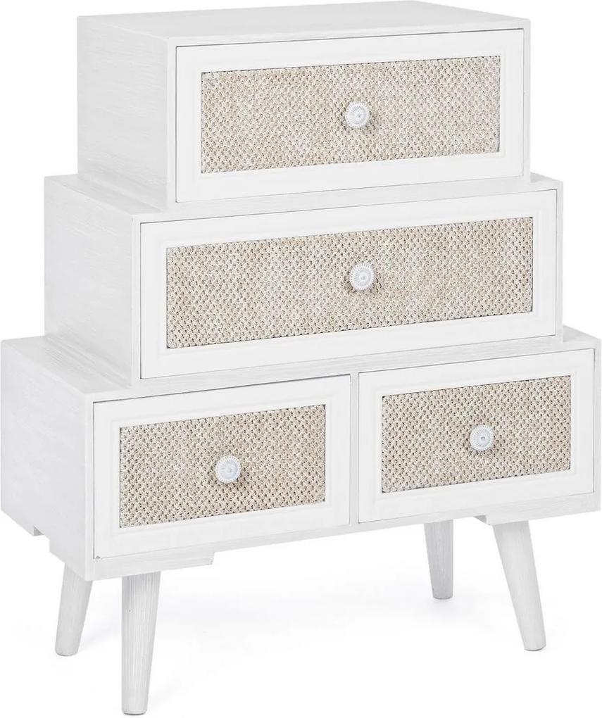 Comoda 2 sertare si 2 usi din lemn alb bej crem Montiel 60 cm x 30.5 cm x 70.5 h