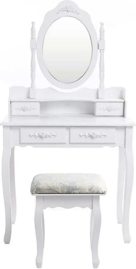 Set Anelise Masă de Toaletă pentru Machiaj cu Oglindă, 4 Sertare și Scaun