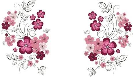 Decoraţiune autoadezivă Floare negru cu roz