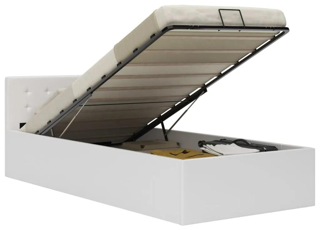 285516 vidaXL Cadru pat hidraulic cu ladă, alb, 90 x 200 cm, piele ecologică