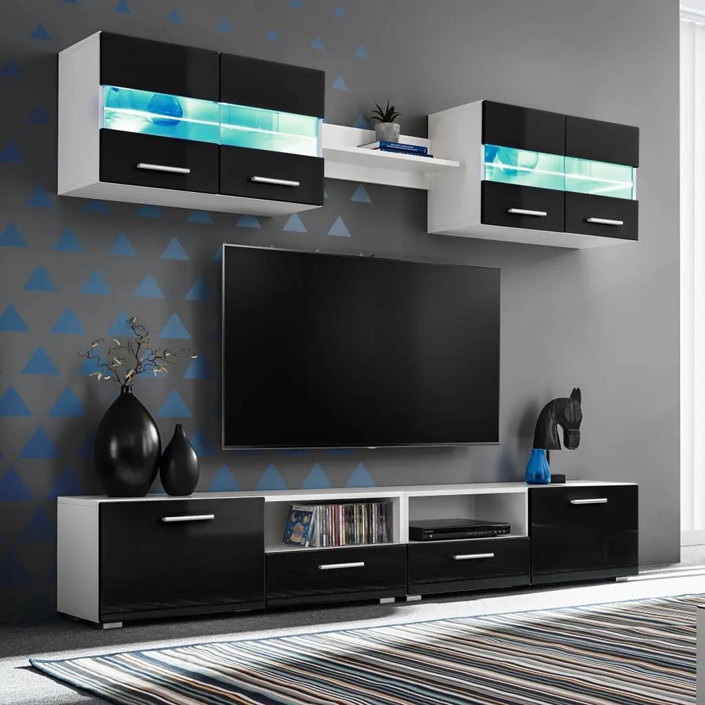 246028 vidaXL Mobilier sufragerie, spațiu TV 5 piese, lumini LED Negru lucios