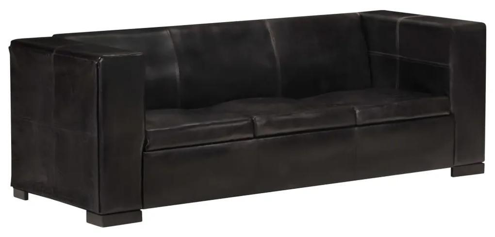 325118 vidaXL Canapea cu 3 locuri, negru, piele naturală