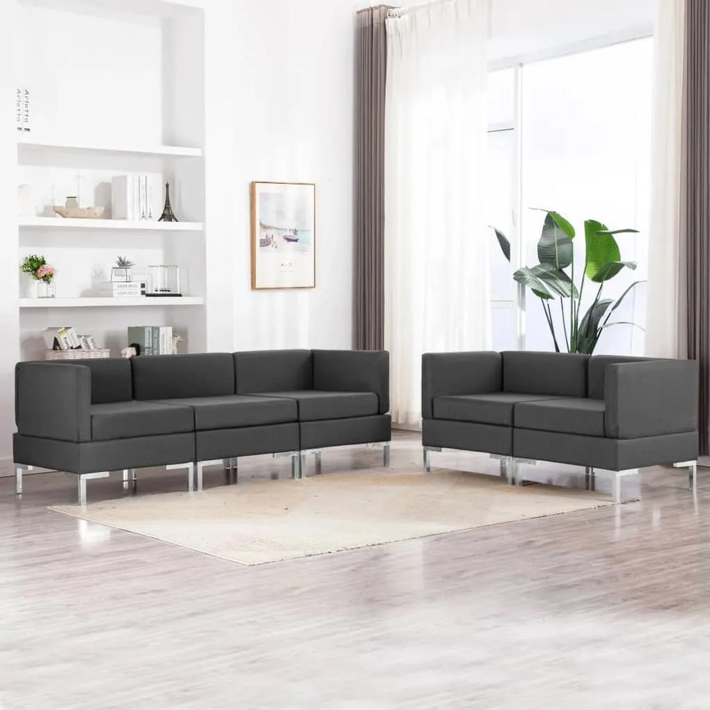 3052790 vidaXL Set de canapele, 5 piese, gri închis, material textil