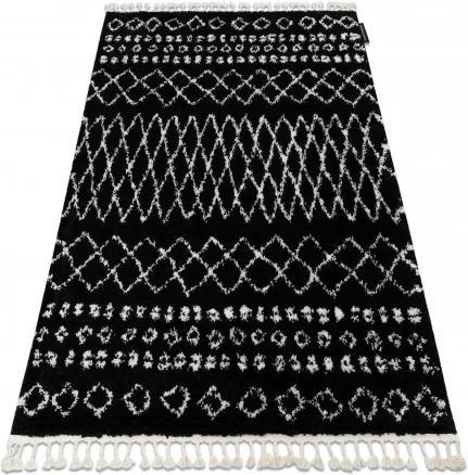 Covor Berber Ethnic G3802 negru si alb Franjuri shaggy pletos 80x