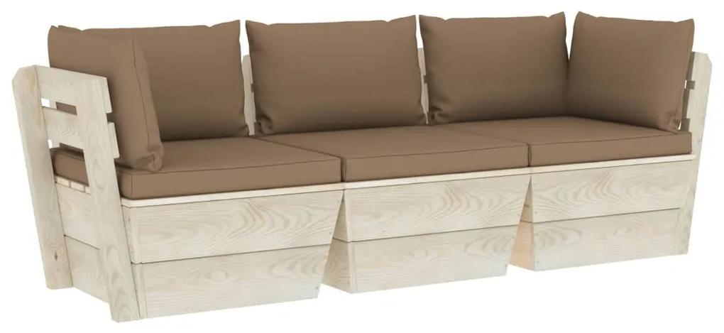 3063404 vidaXL Canapea de grădină din paleți, 3 locuri, cu perne, lemn molid