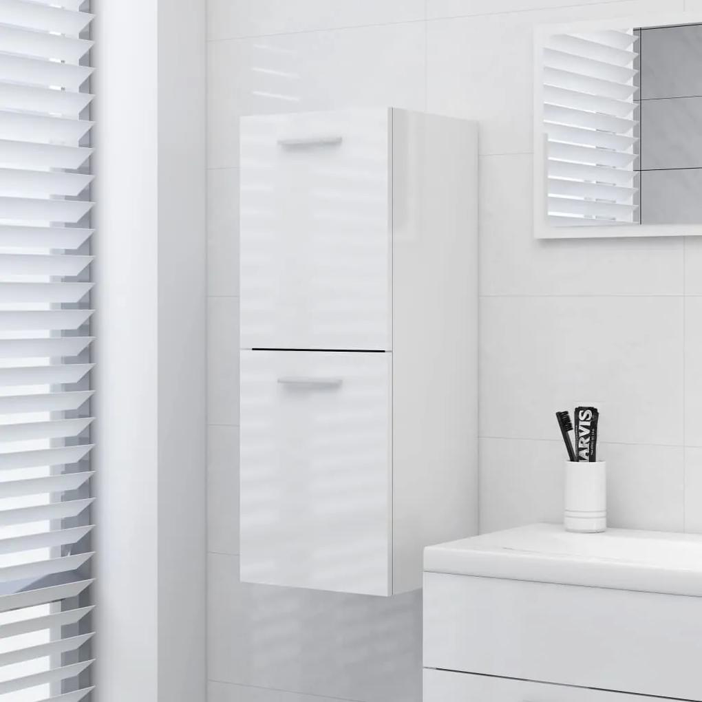 804994 vidaXL Dulap de baie, alb extralucios, 30x30x80 cm, PAL