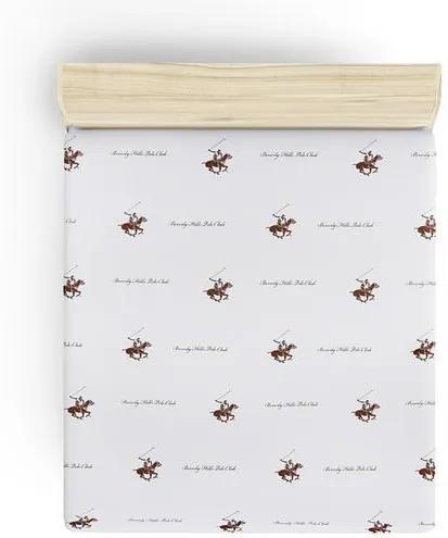 Cearșaf fără elastic Beverly Hills Polo Club Clancy, 180 x 240 cm, detalii maro