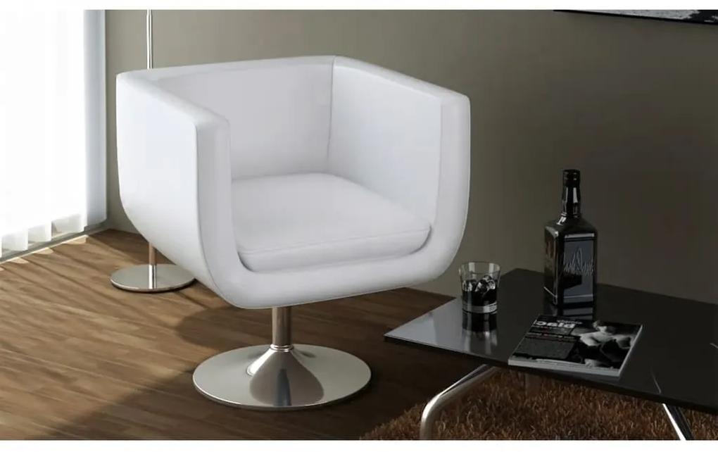 240040 vidaXL Scaun de bar, alb, piele ecologică