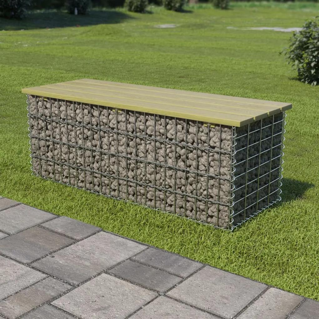 275899 vidaXL Bancă gabion, 120 cm, oțel galvanizat și lemn de pin